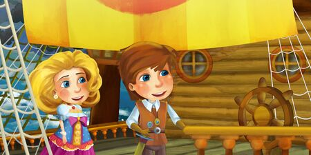 Cartoon scene on the ship - prince and princess with his guest - illustration for children 写真素材 - 128873759