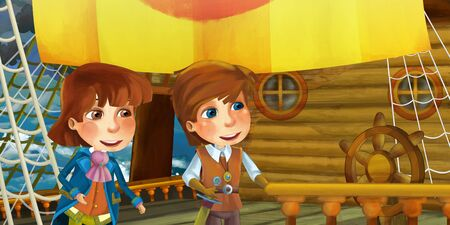Cartoon scene on the ship - prince or captain on his ship - illustration for the children 写真素材 - 128873754