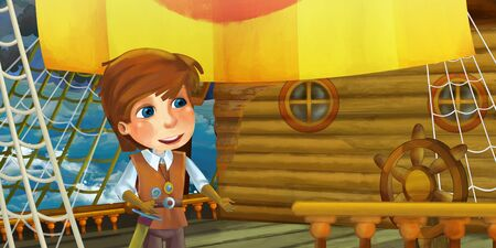 Cartoon scene on the ship - prince or captain on his ship - illustration for the children 写真素材 - 128873755