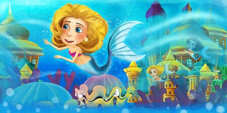 Cartoon ocean and the mermaid in underwater kingdom swimming with others and animals - illustration for children 写真素材 - 128873757