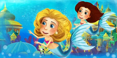 Cartoon ocean and the mermaid in underwater kingdom swimming with others and animals - illustration for children 写真素材 - 128873758