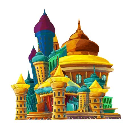 cartoon colorful castle on white background - illustration for children