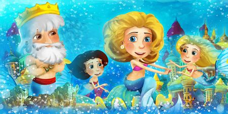 Cartoon ocean and the mermaid in underwater kingdom swimming with others and animals - illustration for children 写真素材 - 128873809