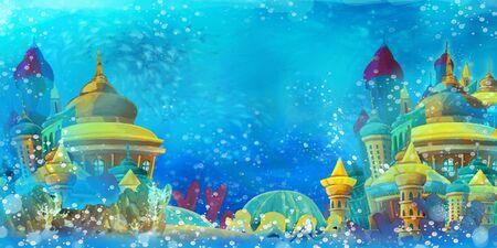 Cartoon underwater scene with turtle and castle - illustration for children Zdjęcie Seryjne