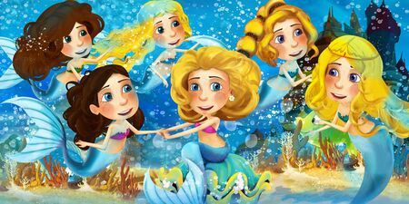 Cartoon ocean and the mermaid in underwater kingdom swimming with others and animals - illustration for children 写真素材 - 128873817