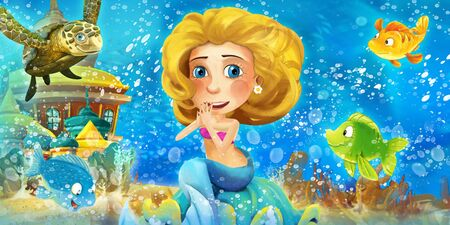 Cartoon ocean and the mermaid in underwater kingdom swimming with others and animals - illustration for children