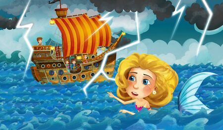 Cartoon ocean and the mermaid near the wooden ship - illustration for children