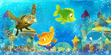 Cartoon underwater scene with swimming fishes - illustration for children