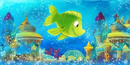 Cartoon underwater scene with swimming fishes - illustration for children 写真素材 - 128873878