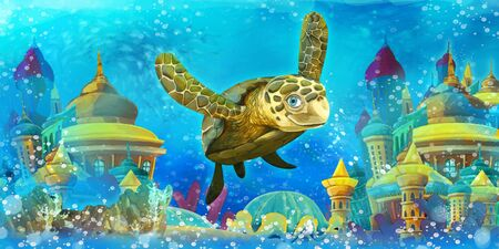Cartoon underwater scene with swimming turtle - illustration for children 写真素材 - 128873903