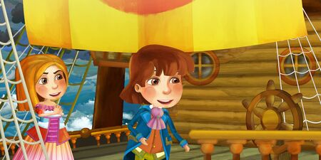 Cartoon scene on the ship - prince or captain on his ship - illustration for the children 写真素材 - 128873906