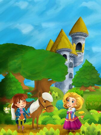 cartoon scene with happy young girl princess and prince in the forest on the meadow with some horse and castle tower - illustration for children