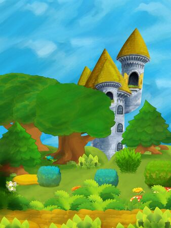cartoon scene some stone tower in the deep forest - illustration for children