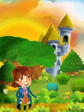 Cartoon scene with prince through the forest to unknown - illustration for children