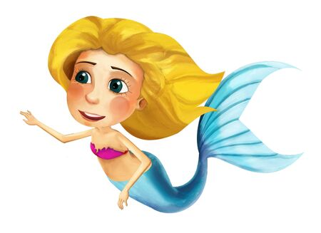 cartoon young princess - smiling beautiful mermaid swimming - illustration for children 写真素材