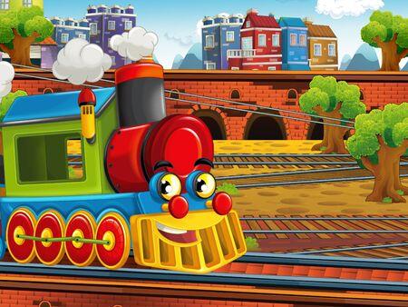 Cartoon steam old fashioned train locomotive - train station - illustration for the children