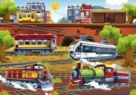 Cartoon electric tram passenger wagon and steam locomotive - train station - illustration for the children
