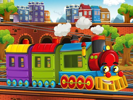 Cartoon steam old fashioned train locomotive - train station - illustration for the children