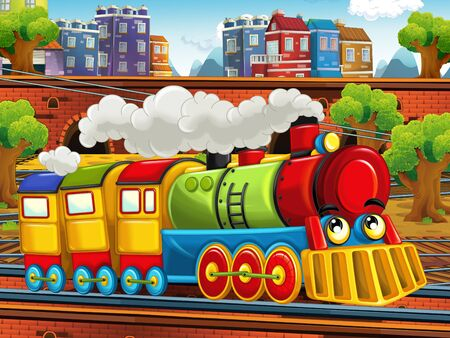 Cartoon steam old fashioned train locomotive - train station - illustration for the children Foto de archivo - 129203330