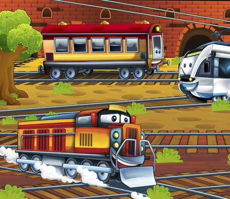 Cartoon electric tram and passenger wagon - train station - illustration for the children