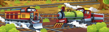 Cartoon steam old fashioned train locomotive - train station - illustration for the children Foto de archivo - 129203523