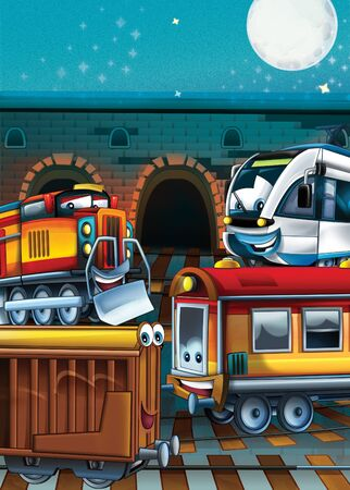 Cartoon steam old fashioned train locomotive and electric - train station - illustration for the children