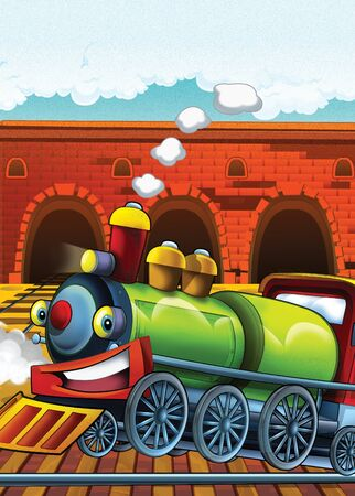 Cartoon steam old fashioned train locomotive - train station - illustration for the children Foto de archivo - 129203525