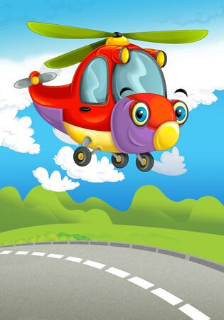 cartoon scene with happy and funny flying fireman helicopter - illustration for children Stock Photo