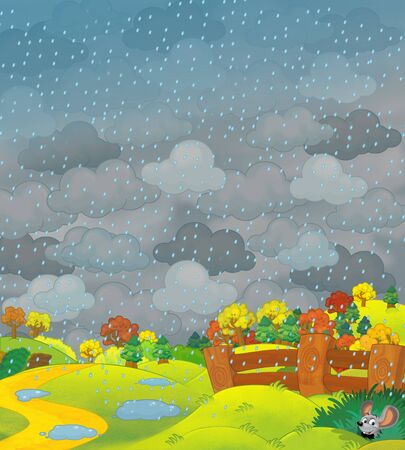 Cartoon scene of farm fields in stormy weather and some wild life- illustration for children Archivio Fotografico - 129204038