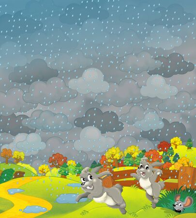 Cartoon scene of farm fields in stormy weather and some wild life- illustration for children Archivio Fotografico - 129204054