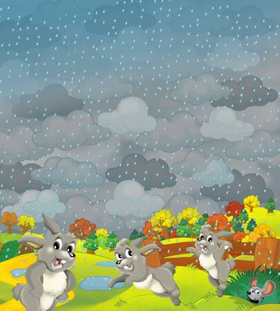 Cartoon scene of farm fields in stormy weather and some wild life- illustration for children Archivio Fotografico - 129204052