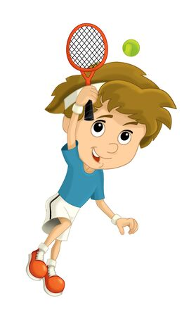 Cartoon boy training tennis on white background - illustration for children Фото со стока