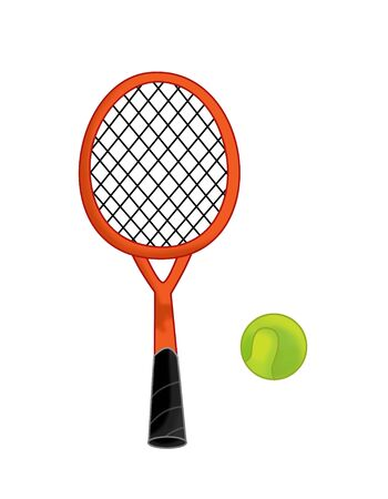 cartoon tennis equipment - racket with a ball - isolated on white background illustration for children