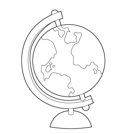 cartoon scene with surface of the earth - globe with continents with coloring page - illustration for the children