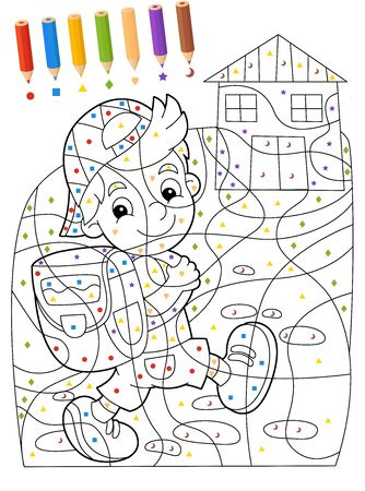 cartoon scene coloring page with kid going to school sketchbook - illustration for the children 版權商用圖片