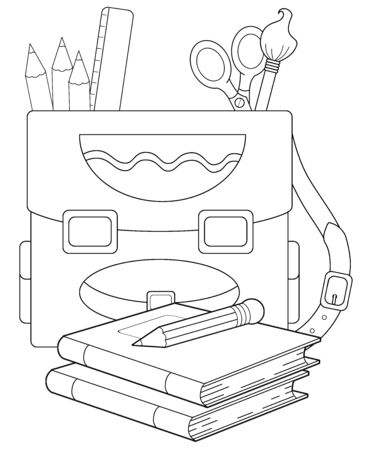 cartoon scene with coloring page the school backpack - illustration for children