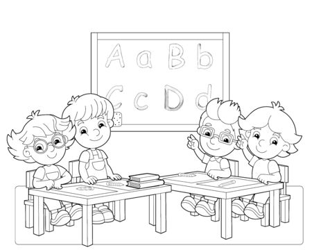 cartoon scene with kids and teacher in the classroom holding hands up sketch coloring page - illustration for children 版權商用圖片