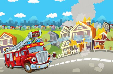 cartoon scene with red firetruck rushing to some action - duty - illustration for children Banque d'images - 129003389