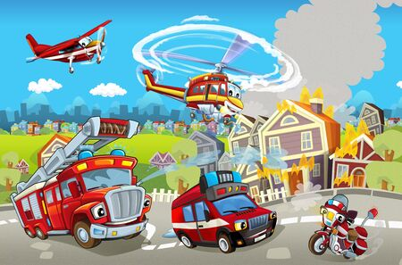 cartoon stage with different machines for firefighting colorful and cheerful scene