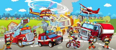 Cartoon stage with different machines for firefighting and firemen - colorful and cheerful scene - illustration for children