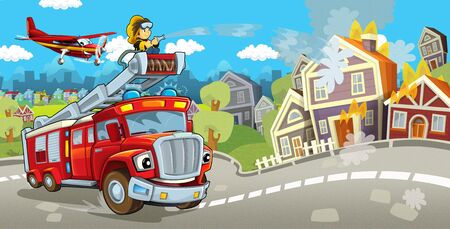 Cartoon stage with different machines for firefighting and fireman - colorful and cheerful scene - illustration for children