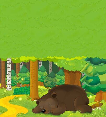 Cartoon scene with a bear sleeping in the forest - with space for text - illustration for children Foto de archivo - 129204289
