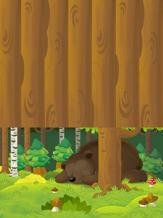 Cartoon scene with a bear sleeping in the forest - with space for text - illustration for children