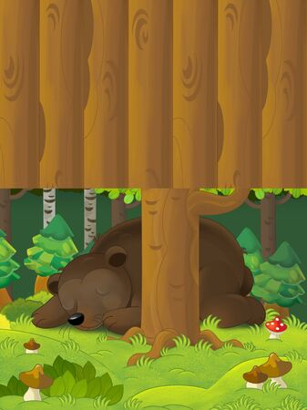 Cartoon scene with a bear sleeping in the forest - with space for text - illustration for children Foto de archivo - 129204311