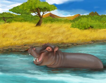 cartoon scene with hippopotamus safari scene illustration for children Фото со стока