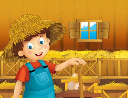 cartoon scene with happy man boy working on the farm - standing and smiling illustration for children Imagens
