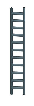 cartoon scene with metal ladder for different usage on white background - illustration for children