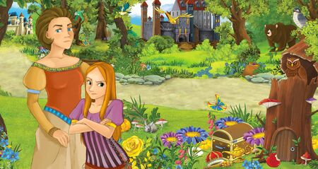cartoon scene with happy young girl princess and her mother in the forest near some castles - illustration for children Stock Photo