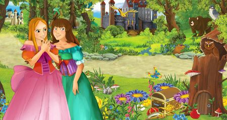 cartoon scene with happy young girl princess in the forest near some castles - illustration for children