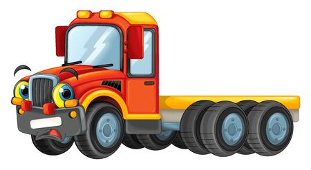 cartoon happy cistern truck isolated on white background - illustration for children 写真素材